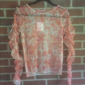SHEER FLORAL ZARA TOP WITH SLEEVE RUCHING